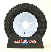 ST 4.80 x 8 Trailer Tire on a 5 Bolt White Trailer Wheel 5 on 4 1/2
