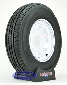 Trailer Tire ST235/80R16 on White Steel Spoked Wheel 8 Lug by Loadstar