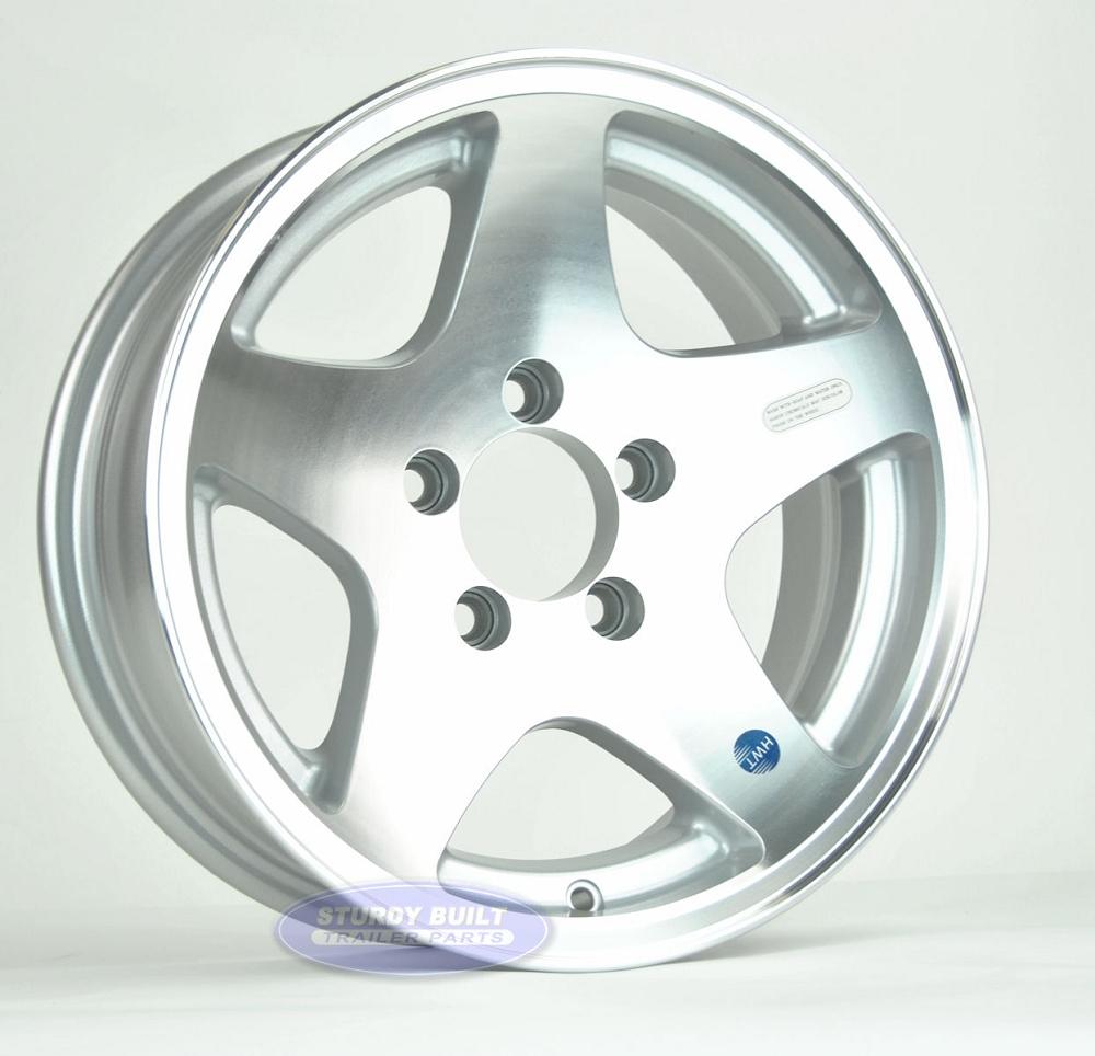 14 inch aluminum 5 star trailer wheel 5 lug 5 on 4 1  2