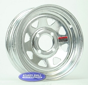 12 inch Galvanized 4 Bolt Trailer Wheel 4 on 4 Lug Pattern
