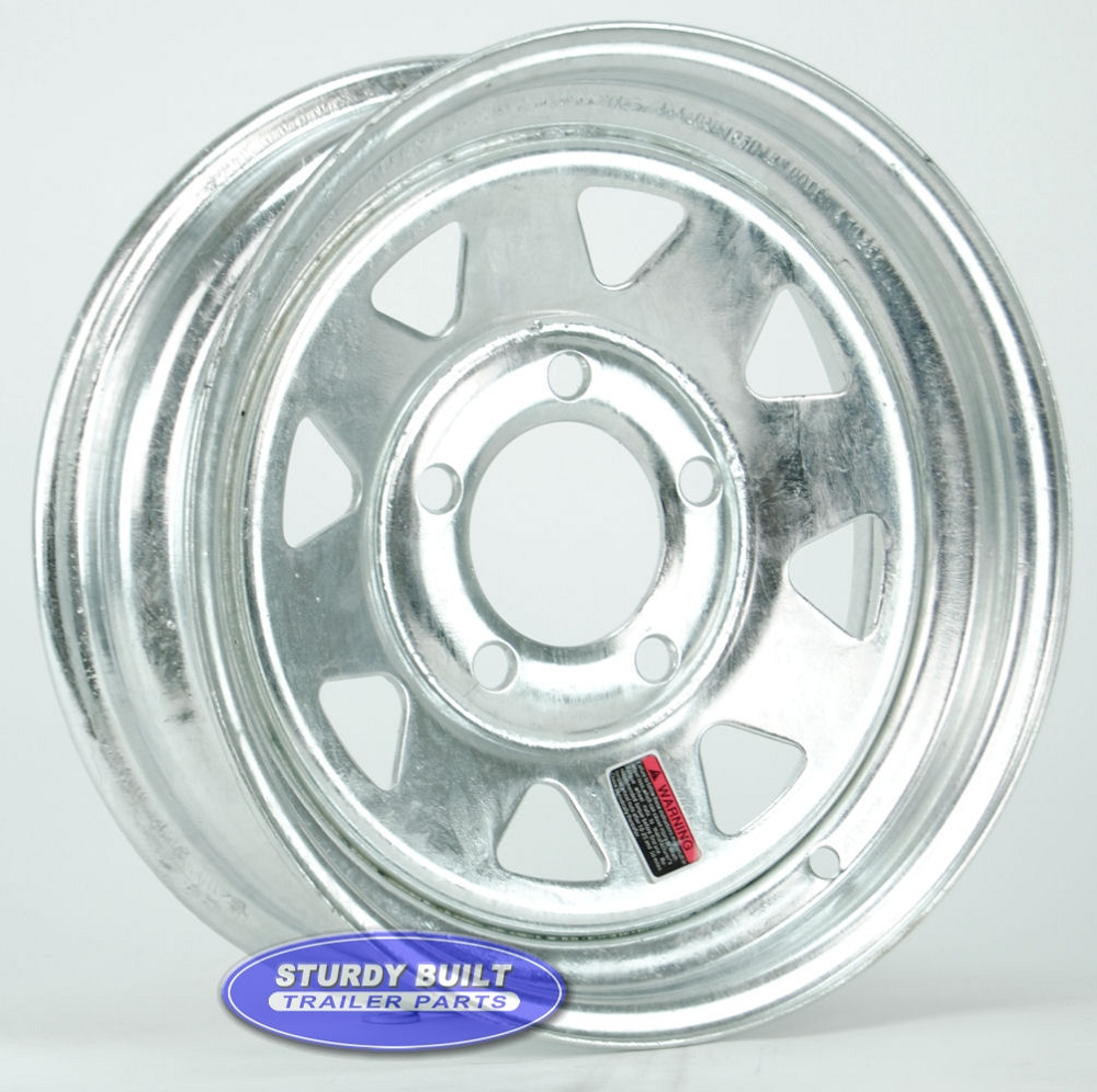 13 Inch 5 Bolt Galvanized Spoke Boat Trailer Wheel 5 On 4