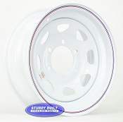 15 inch 6 bolt White Spoke Trailer Wheel 6 Lug on 5 1/2 Pattern