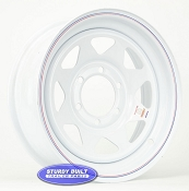 16 inch 6 bolt White Spoke Steel Trailer Wheel 6 on 5 1/2 Lug Pattern