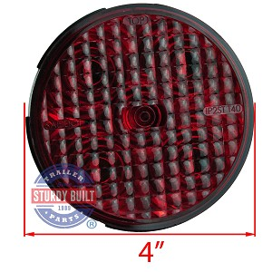 Led round red trailer light 4 inch sealed recessed mount aloadofball Images
