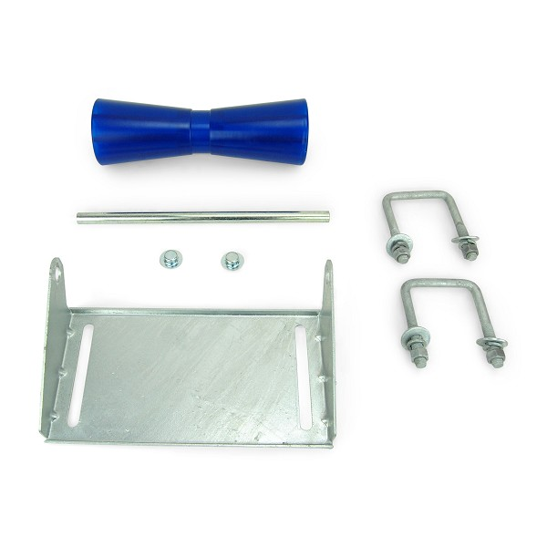 12 inch Blue Poly Vinyl Boat Trailer Keel Roller and Bracket Kit for 3x3 Cross Members