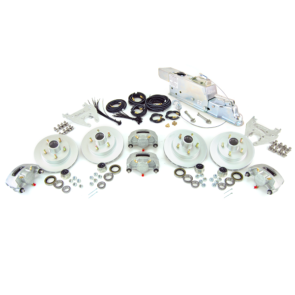 Boat Trailer Disc Brake Kit Tandem Axle Complete with Demco DA86 (8,600lb) Actuator