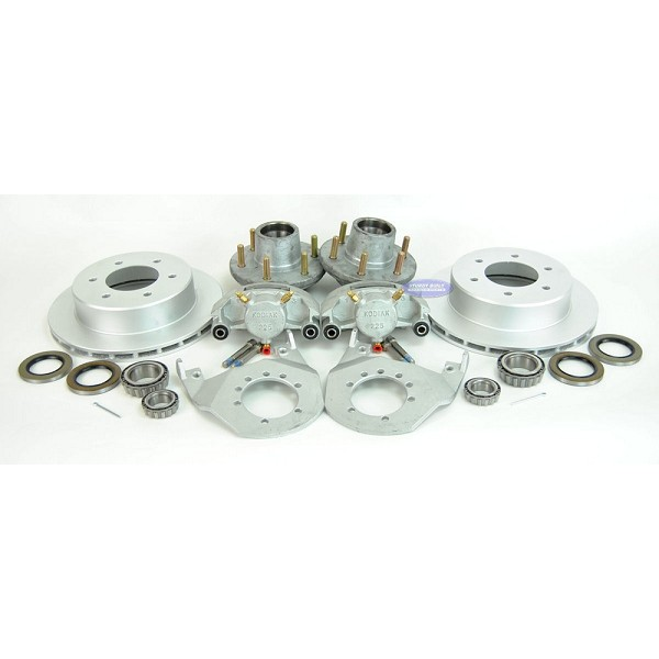 Kodiak Trailer Slip-on Disc Brake Kit All DAC 6 Bolt w/ Hubs