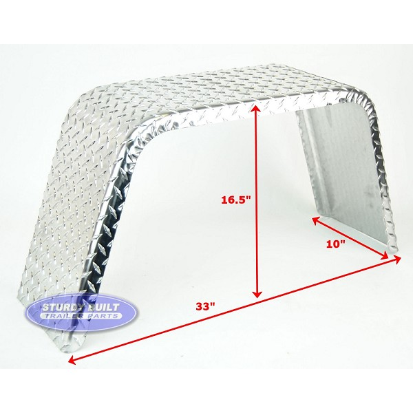 Aluminum Diamond Plate Boat Trailer Fender Single 10 x 33 x 16 1/2in