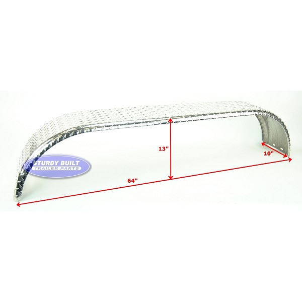 Aluminum Diamond Plate Boat Trailer Fender Tandem Axle 10 x 64 x 13in