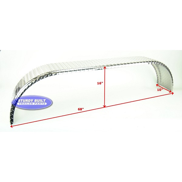 Aluminum Diamond Plate Boat Trailer Fender Tandem Axle 10 x 68 x 16in
