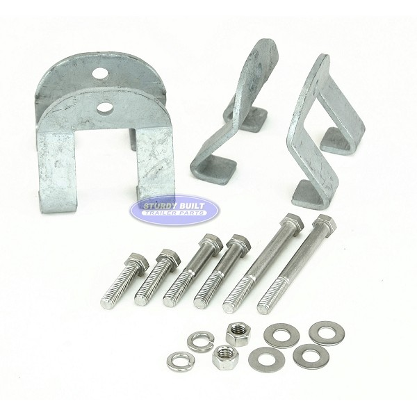 Boat Trailer I Beam Clamps Guide Pole Mounting Bracket Kit with Stainless Bolts