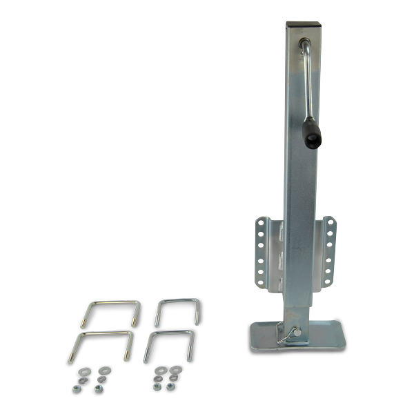 Zinc Plated Dropfoot Trailer Jack 2,500lb Capacity with U-bolt Mounting Hardware