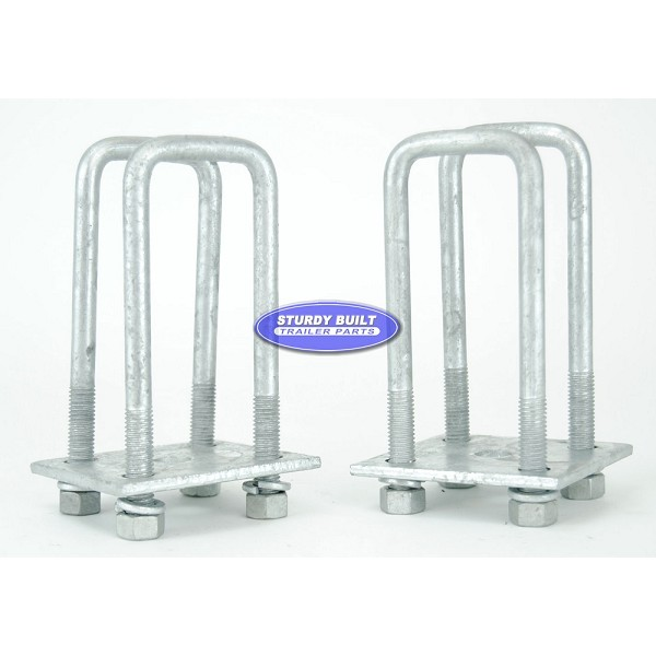 Trailer Leaf Spring Galvanized U-Bolt Kit Fits 2 x 3 Axles 6 ¼ in Long