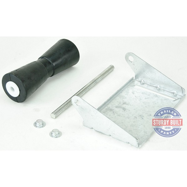 10 inch Black Rubber Keel Roller Assembly Kit with Roller Shaft and Bracket