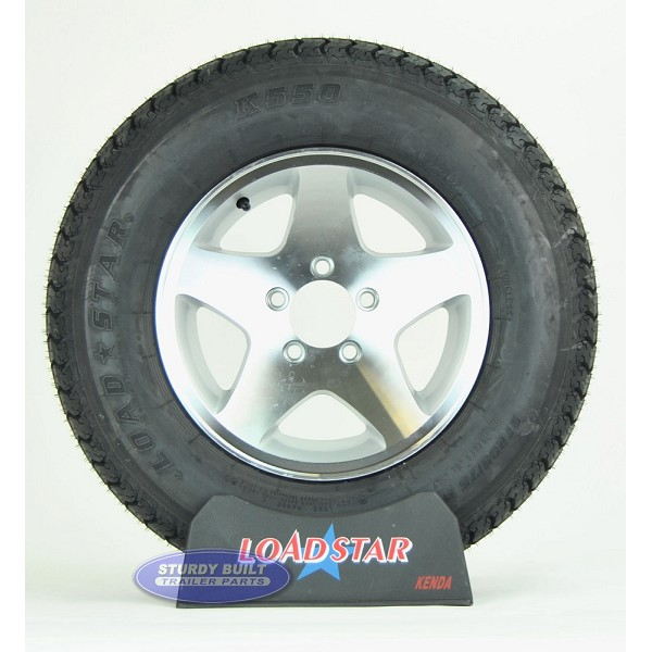 Trailer Tire ST205/75D14 Bias Ply on Aluminum 5 Star Wheel 5 Lug