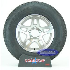St205 75r14 Radial Boat Trailer Tire On A Split Spoke Aluminum 5 Lug