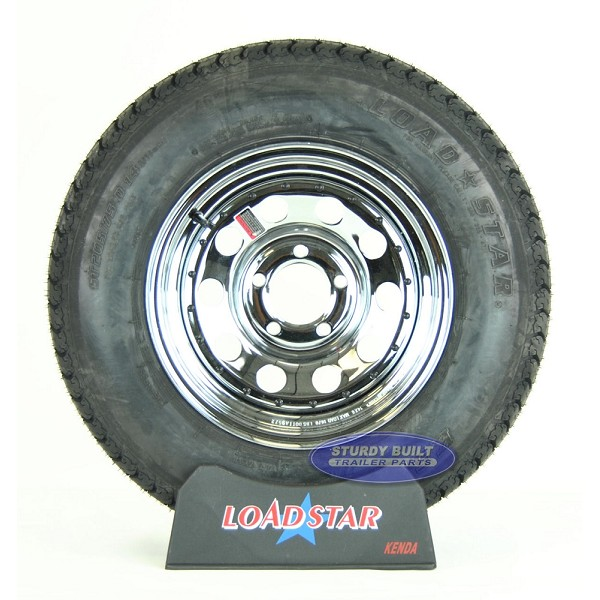ST205/75D14 Bias Ply Tire mounted on a Chrome 5 Lug Trailer Wheel