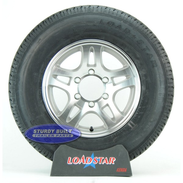 ST225/75R15 Radial Boat Trailer Tire on a Aluminum Split Spoke 6 bolt Wheel