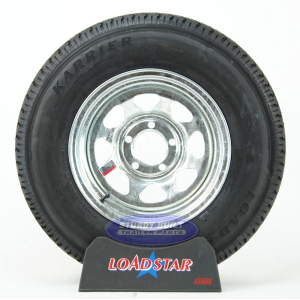 ST205/75R14 Radial Trailer Tire mounted on a Galvanized 5 bolt Wheel