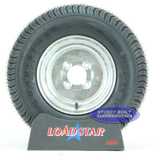 20.5x8-10 or 205/65-10 Boat Trailer Tire on Galvanized 4 bolt Wheel