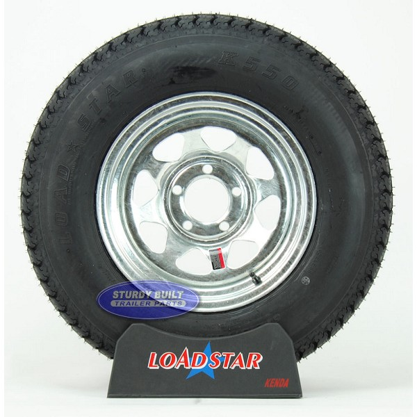 ST215/75D14 Boat Trailer Tire mounted on a Galvanized 5 bolt Wheel G78-14