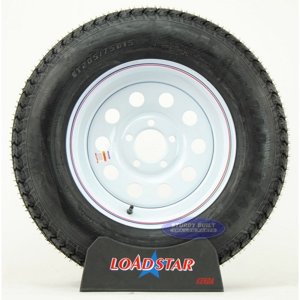 ST205/75D15 Trailer Tire F78-15 Mounted on a 5 Bolt White Mod Wheel