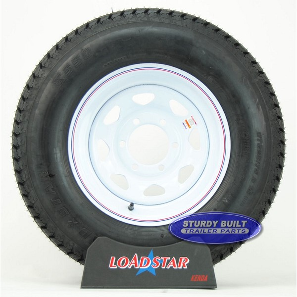 ST225/75D15 H78-15 Mounted on a 6 Bolt White Spoke Trailer Wheel