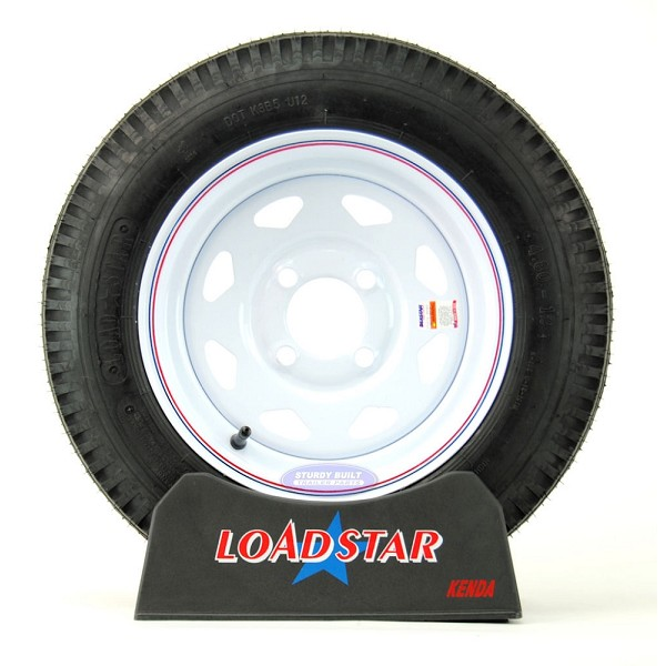 ST 4.80 x 12 Trailer Tire on 4 Bolt White Spoke Wheel LRC 990lb