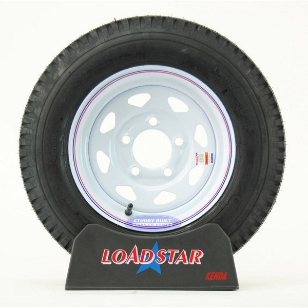 ST 5.30-12 Trailer Tire on 5 Bolt White Spoke Wheel LRC 1,045lb