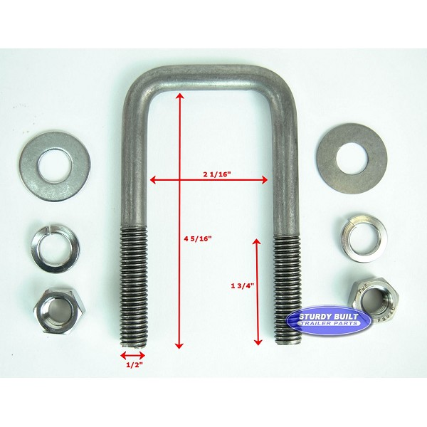 Stainless Steel Square Trailer U-Bolt 1/2 inch x 2 inch x 4 5/16 inch