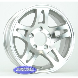 14 inch Aluminum Split Spoke Boat or Enclosed Trailer Wheel 5 Bolt