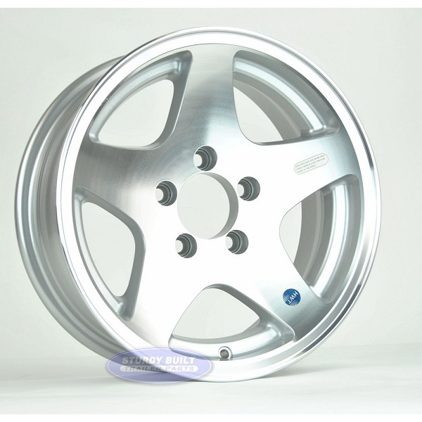14 inch Aluminum 5 Star Trailer Wheel 5 Lug 5 on 4 1/2 Bolt Pattern