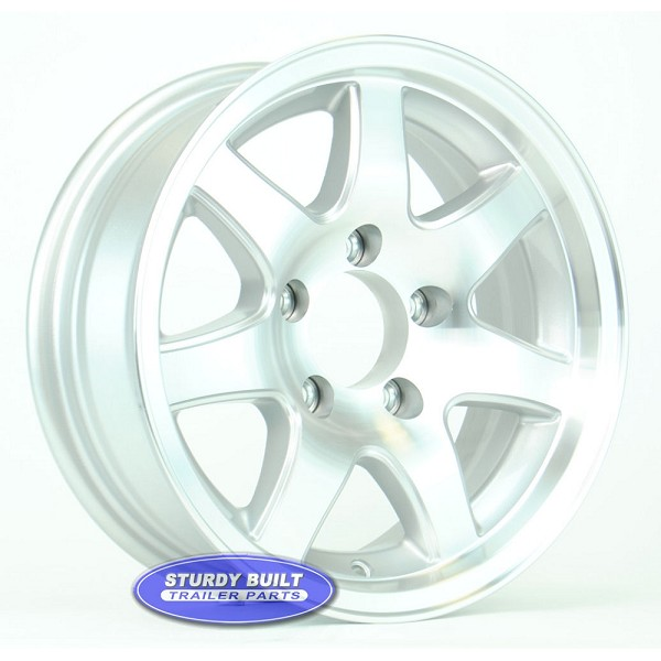 14 inch Aluminum 7 Spoke Trailer Wheel 5 Lug 5 on 4 1/2 Bolt Pattern