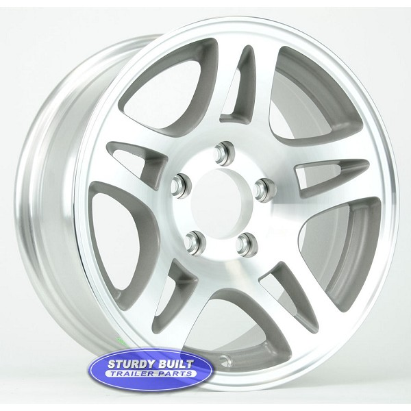 15 inch 5 Bolt 5 on 4 1/2 Aluminum Split Spoke Trailer Wheel