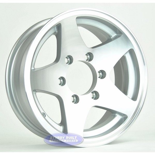 15 inch 6 Lug Aluminum 5 Star Trailer Wheel