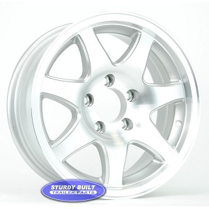 15 inch Aluminum 7 Spoke 5 Bolt Pattern Boat or Enclosed Trailer Wheel