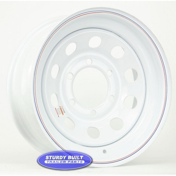 15 inch 6 bolt White Mod Trailer Wheel with 6 on 5 1/2 Lug Pattern